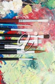 Royalty Free Photo of Paintbrushes and a Palette