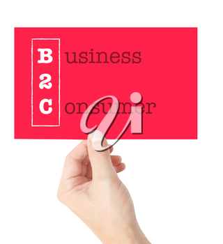 Business 2 Consumer explained on a card held by a hand