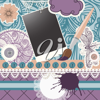 Royalty Free Clipart Image of a Scrapbooking Background of a Paint Brush, a Dragonfly and Buttons