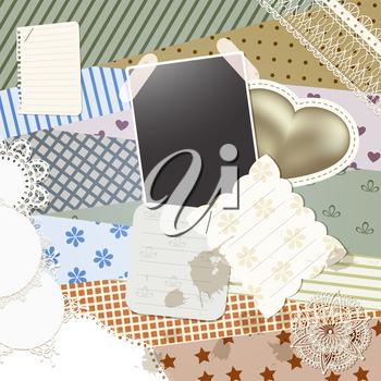 Royalty Free Clipart Image of a Scrapbooking Page with Paper and Shapes