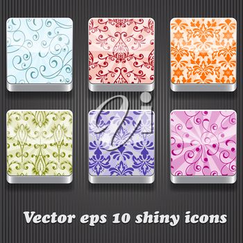 6 vector shiny icons with floral pattern,  transparency effects, fully editable eps 10 file