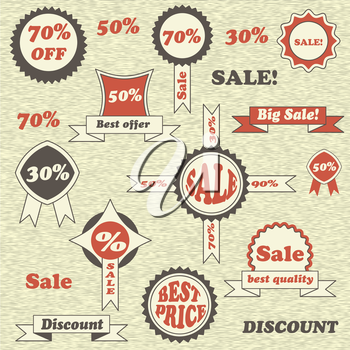 Vector Sale emblems, labels and tags