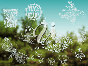 Vector Summer Design Elements on Background with green forest and blue sky, place for your text, Cooper Black Std and Eccentric Std  fonts used in example