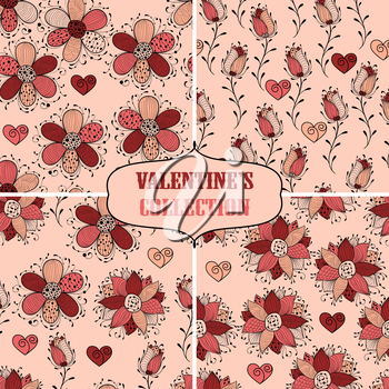 Vector seamless floral valentine's Patterns, fully editable eps 10 file with clipping mask and seamless pattern in swatch menu