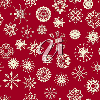 Vector seamless winter pattern with snowflakes, pattern in swatch menu