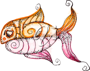 Vector Watercolor Hand Drawn Funky fish