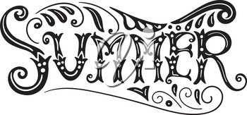 Vector Summer Lettering with Swirls