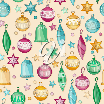 Vector Seamless pattern with Retro Christmas Balls