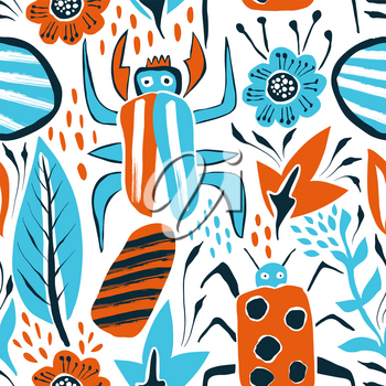 Vector Summer Seamless Pattern with Bugs and Leaves.