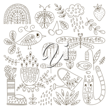 Vector Spring Colouring Page. Funny Summer Outdoor Doodles.