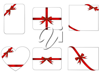 Royalty Free Clipart Image of Cards With Ribbons