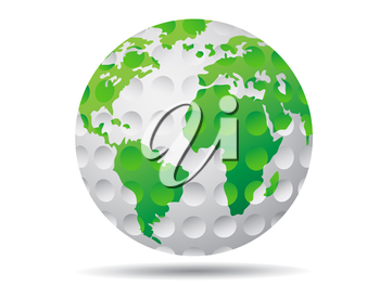 Royalty Free Clipart Image of an Earth Golf Balls