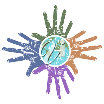 Royalty Free Clipart Image of Hands Around the World