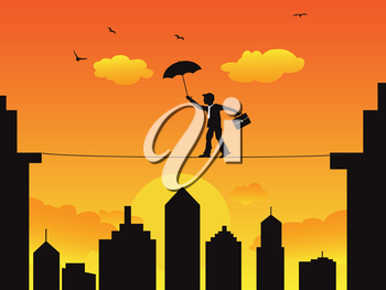 Royalty Free Clipart Image of a Businessman Walking on a Tightrope