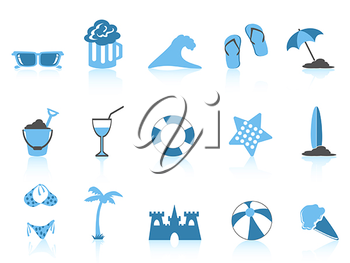 Royalty Free Clipart Image of Beach and Summer Icons