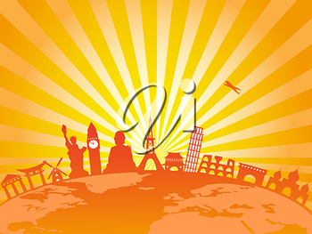 Royalty Free Clipart Image of World Famous Buildings