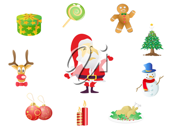 Royalty Free Clipart Image of Christmas Icons