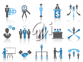 isolated blue Business and Management Icons from white background