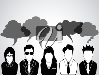 a group of business people communicated with speech bubbles