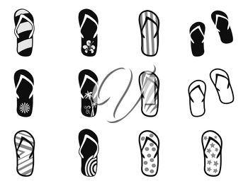isolated Flip flops icons set from white background