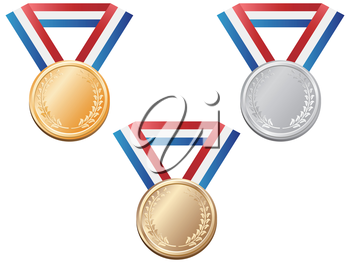 isolated sport medals from white background