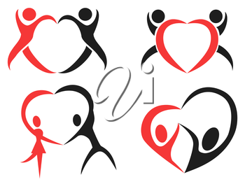 the design of Abstract people heart symbol on white background