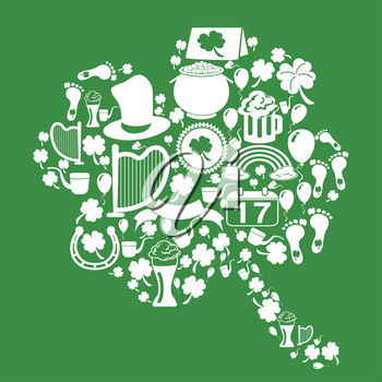 isolated clover leaf with white  st patrick icons from green background