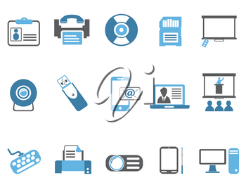 isolated blue office technology icons set from white background