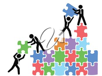 isolated business teams work with jigsaw puzzles on white background