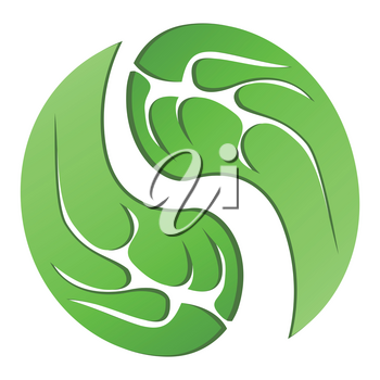 isolated green leaf cycle symbol from white background
