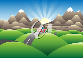Royalty Free Clipart Image of a Car Travelling a Road in the Country