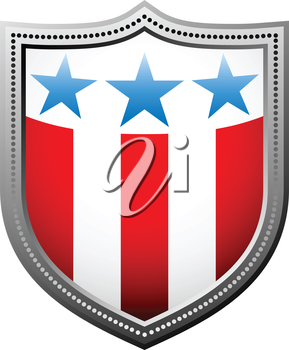 Royalty Free Clipart Image of a Stars and Stripes Badge