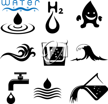 Royalty Free Clipart Image of Water Elements