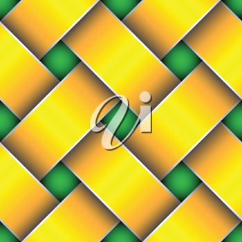 Royalty Free Clipart Image of a Woven Gold Ribbon Pattern