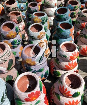Royalty Free Photo of Painted Clay Pots
