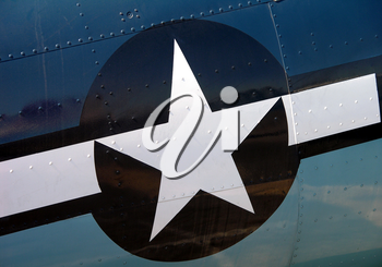 Royalty Free Photo of the Airforce Insignia On Side Of Aircraft