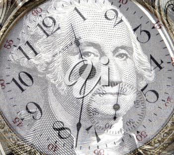 Royalty Free Photo of George Washington's Face on a Clock