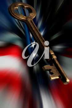 Royalty Free Photo of a Skeleton Key And American Flag
