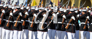 Royalty Free Photo of the United States Marine Corps Silent Drill Team
