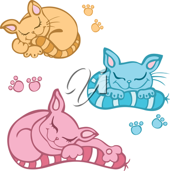 Royalty Free Clipart Image of Three Sleeping Kittens and Paws