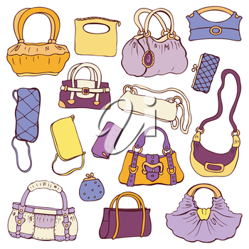 Collection women's handbags. Hand drawn vector isolated.