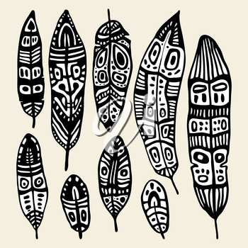 Ethnic Feather vector set. Hand drawn illustration.