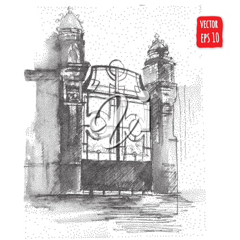 Vintage gate, Hand drawn architectural Vector illustration