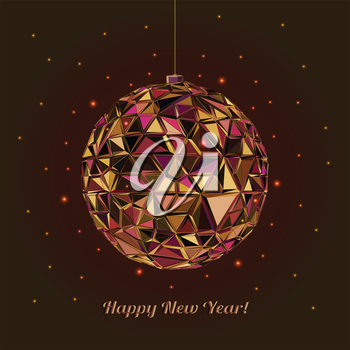 Geometric christmas ball. Abstract poster Merry Christmas