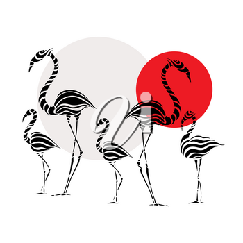 Abstract Silhouettes of pink Flamingo. Beautiful Vector illustration. White background.