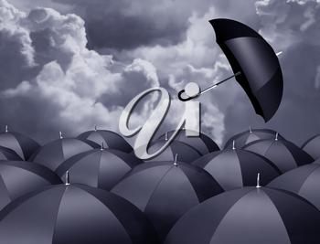 Royalty Free Clipart Image of Umbrellas and a Stormy Sky