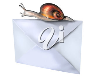 Royalty Free Clipart Image of a Snail on an Envelope