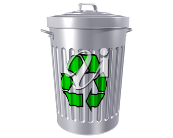 Royalty Free Clipart Image of a Trash Can with a Recycling Symbol on it