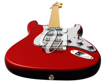 Royalty Free Clipart Image of a Red Electric Guitar