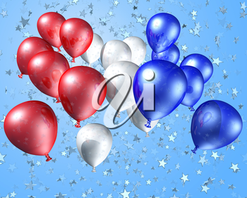 Royalty Free Clipart Image of Red, White and Blue Balloons Flying Free Ttowards a Starry Sky